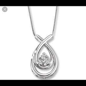 1/2 car 14kt white gold Loves Embrace necklace